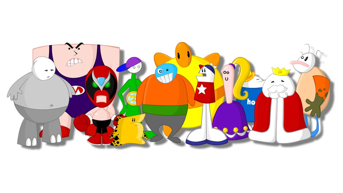 All the Homestar Runner characters standing side by side, from Strong Sad to Poopsmith.