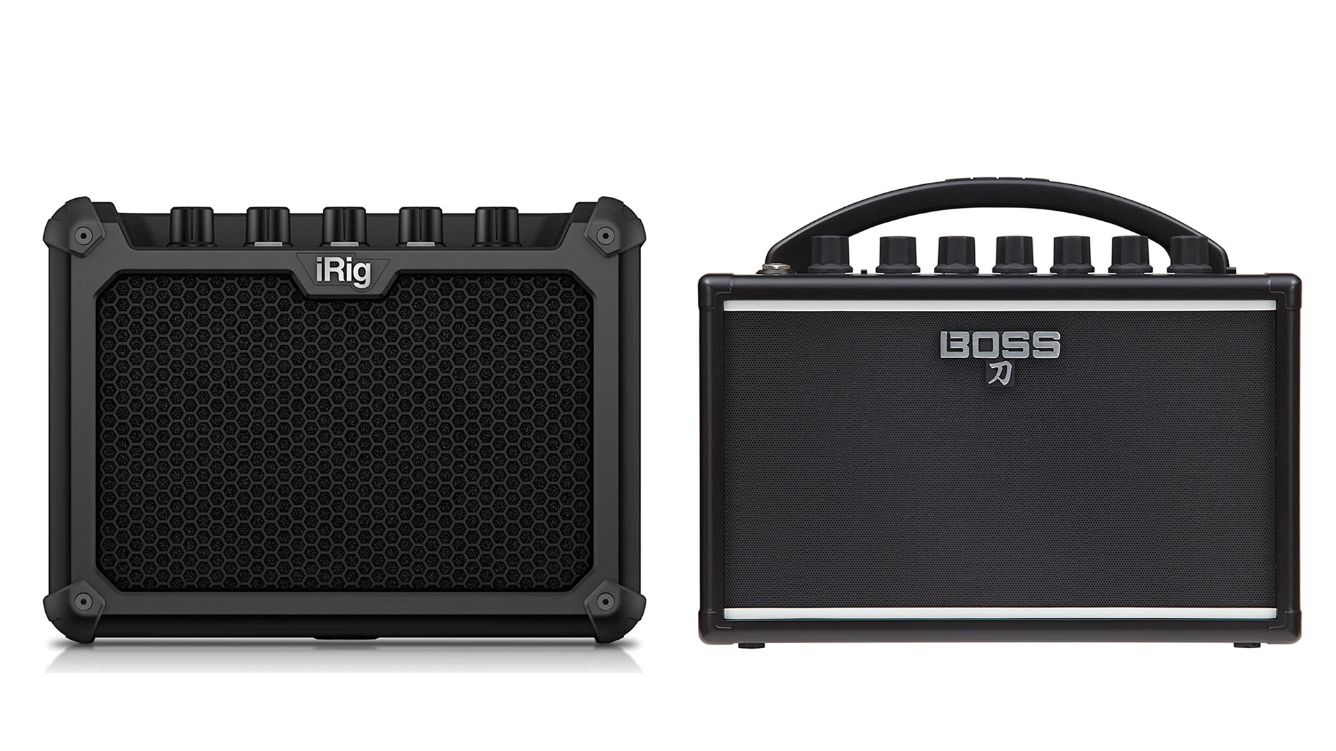 A photo of the iRig and Boss micro amps.