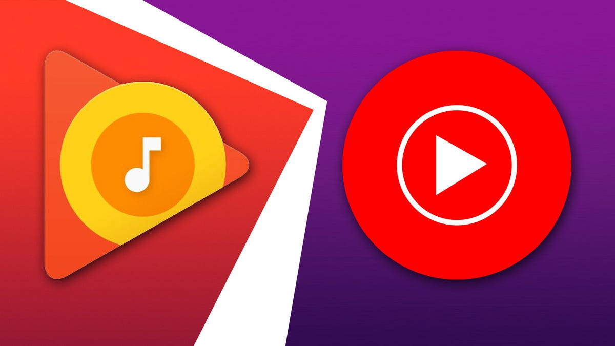 The Play music and YouTube music logos