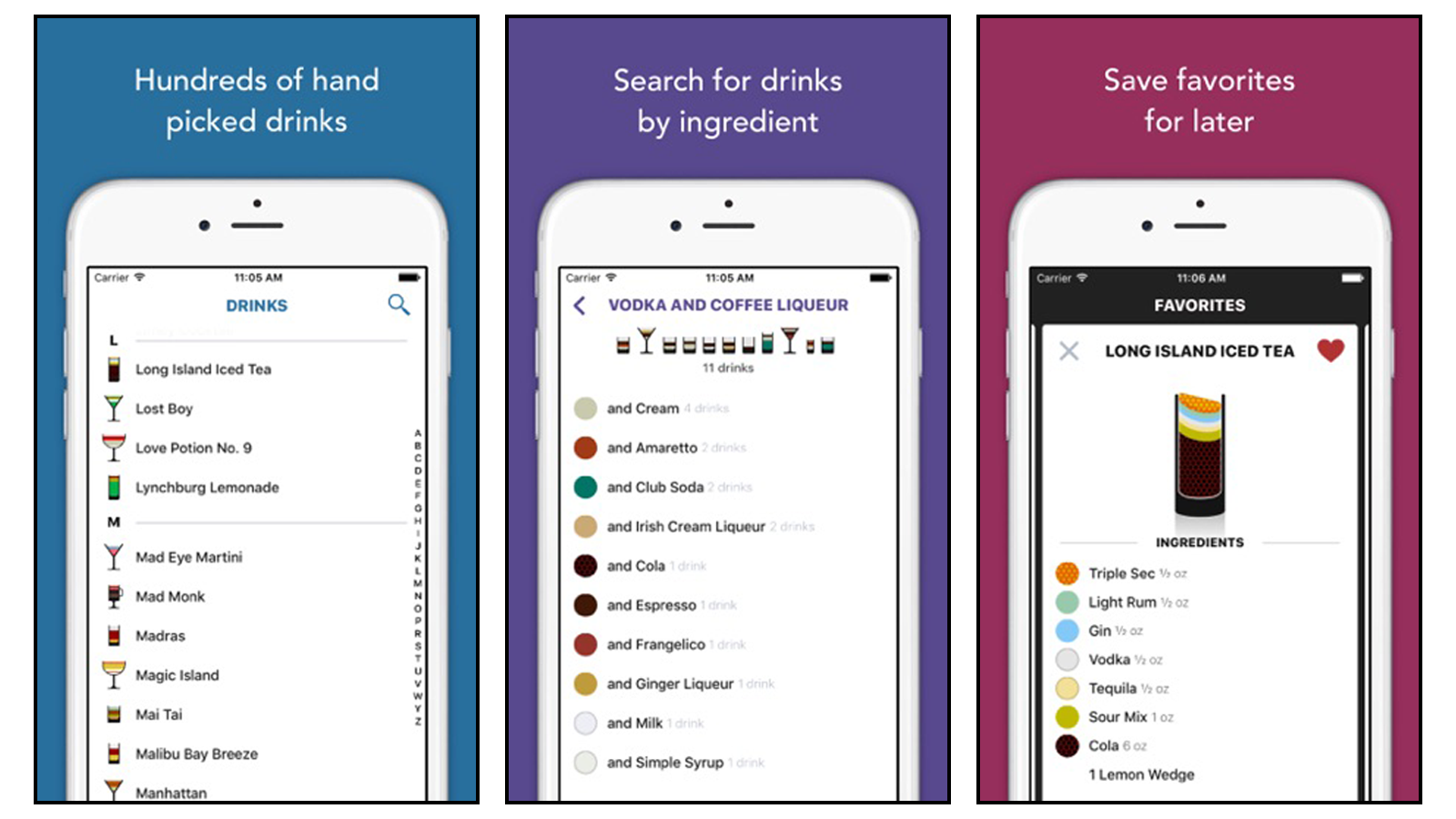 Lush cocktails app with list of drinks and ingredients