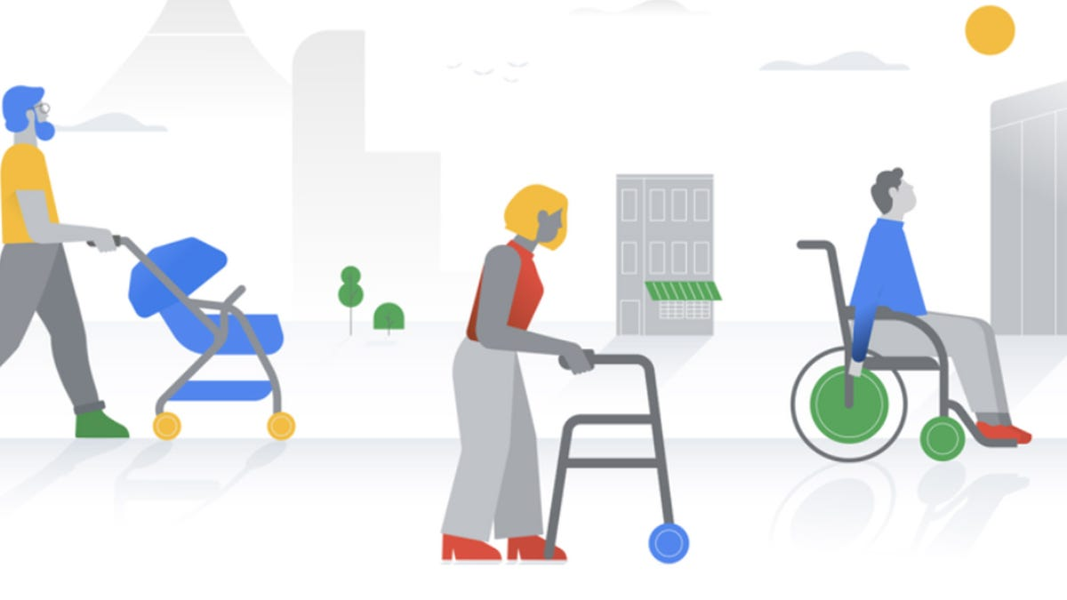 Google accessibility illustration---man with stroller, woman with walker, man in wheelchair