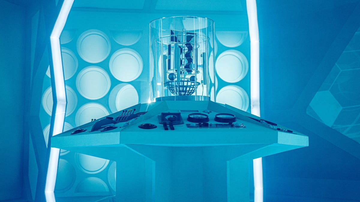 A white and blue-hued interior of the Tardis Set from 'Doctor Who'