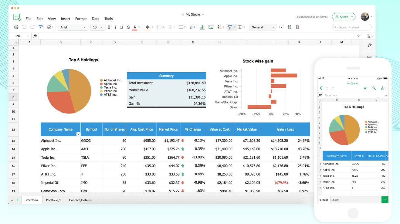 Zoho Office Sheet spreadsheet
