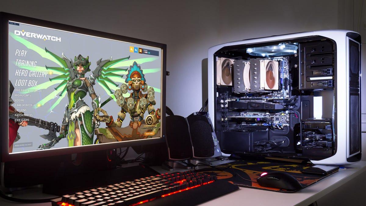A desktop gaming PC