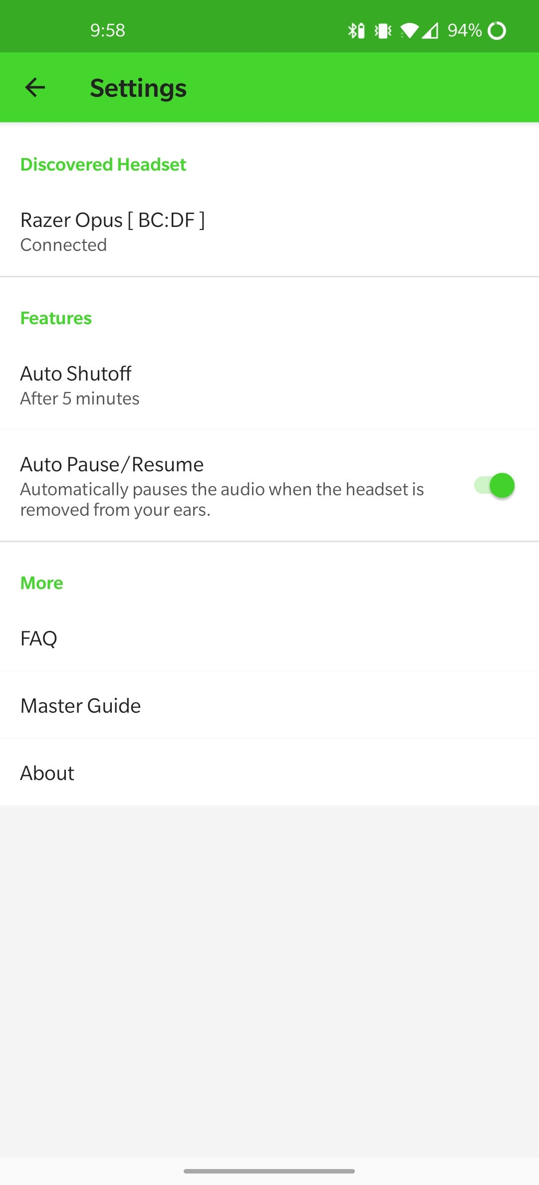 The settings menu in the Opus app