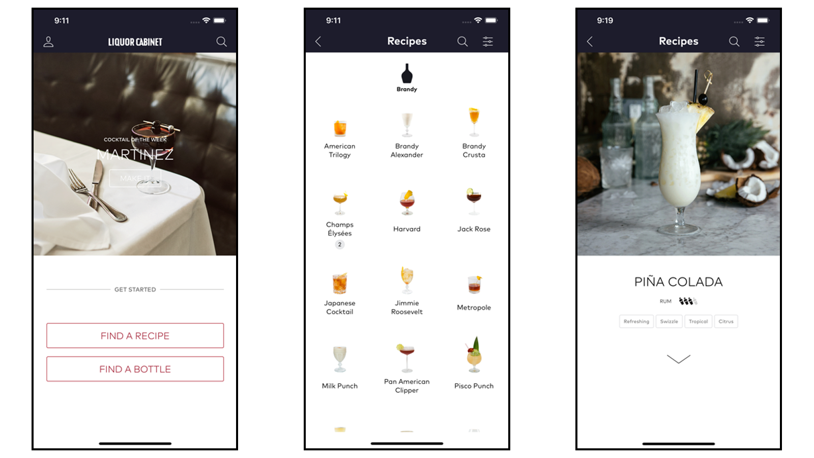The Liquor Cabinet app featuring recipe options and drink pictures
