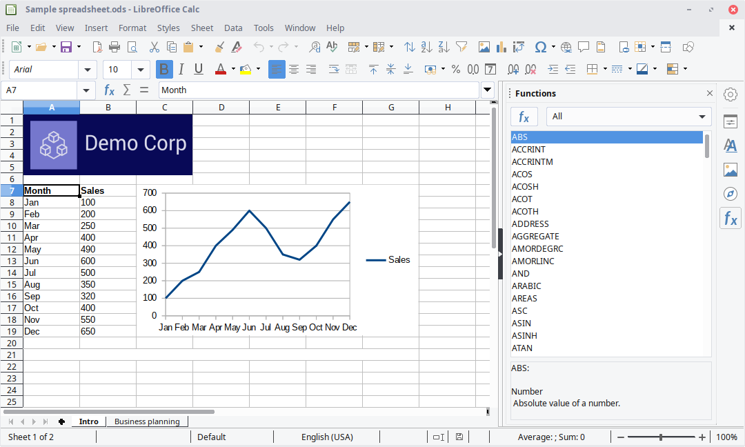 Foglio di calcolo di LibreOffice Calc