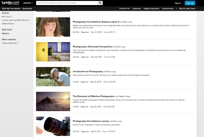 Lynda Digital Photography Courses
