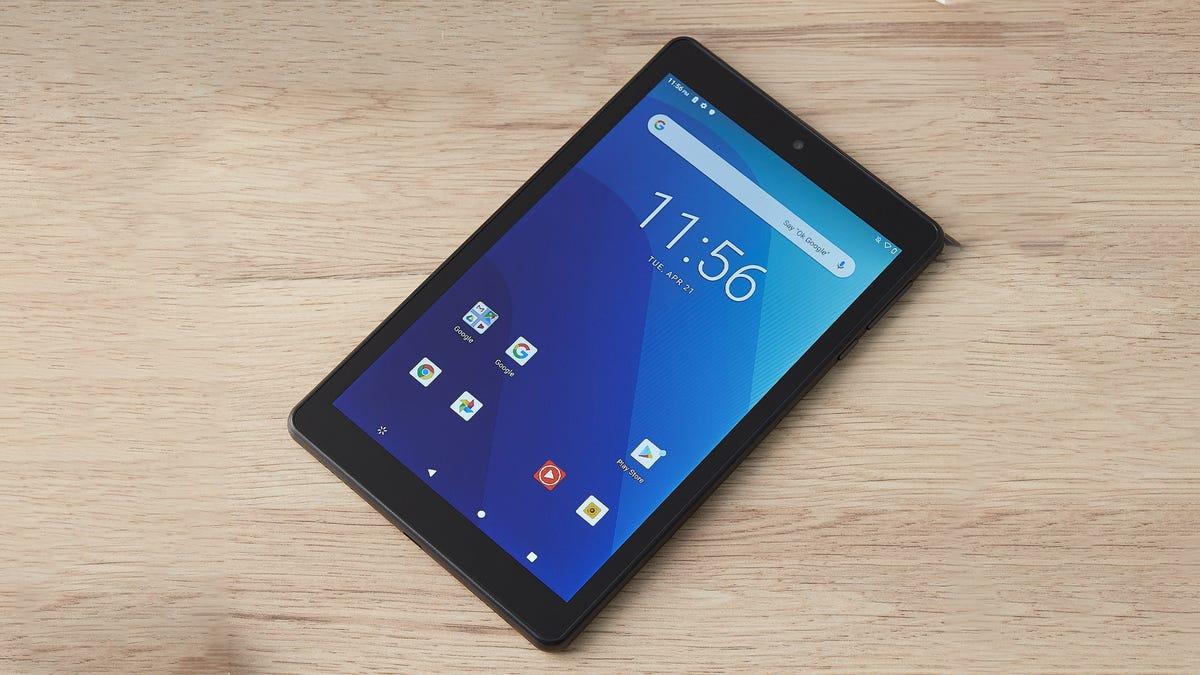 An Onn Pro tablet ona wood table.