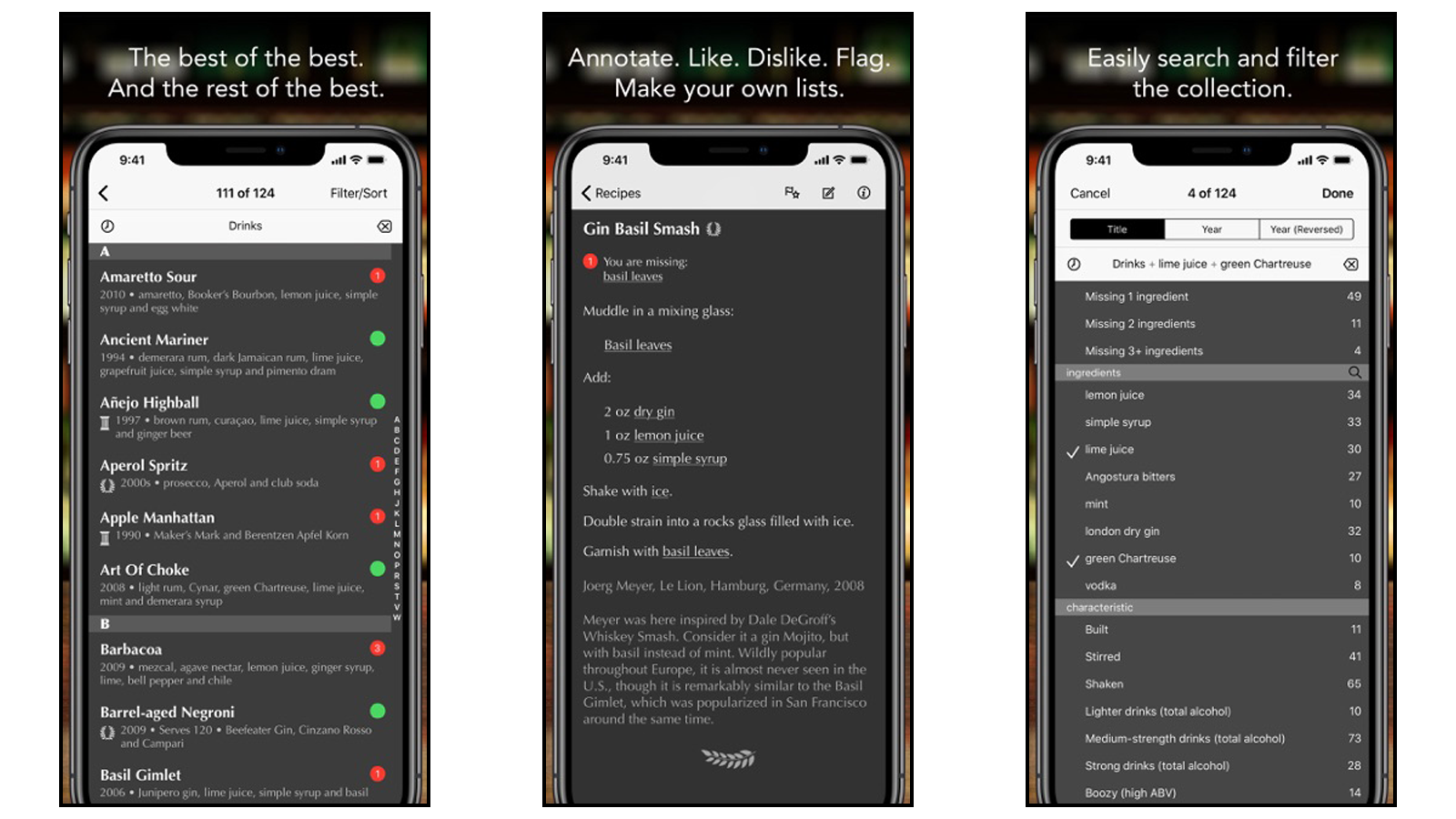 Modern Classics app featuring drink lists and text recipes