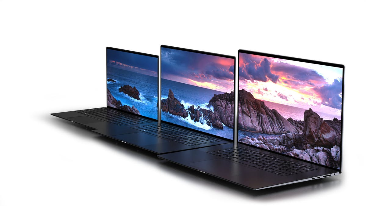 The Dell XPS 13, 15, and 17 side by side.