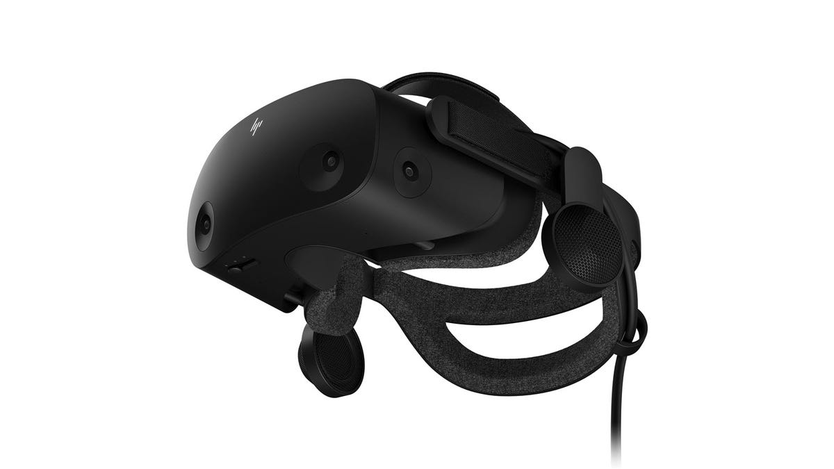 The HP Reverb G2 VR headset seen from below.