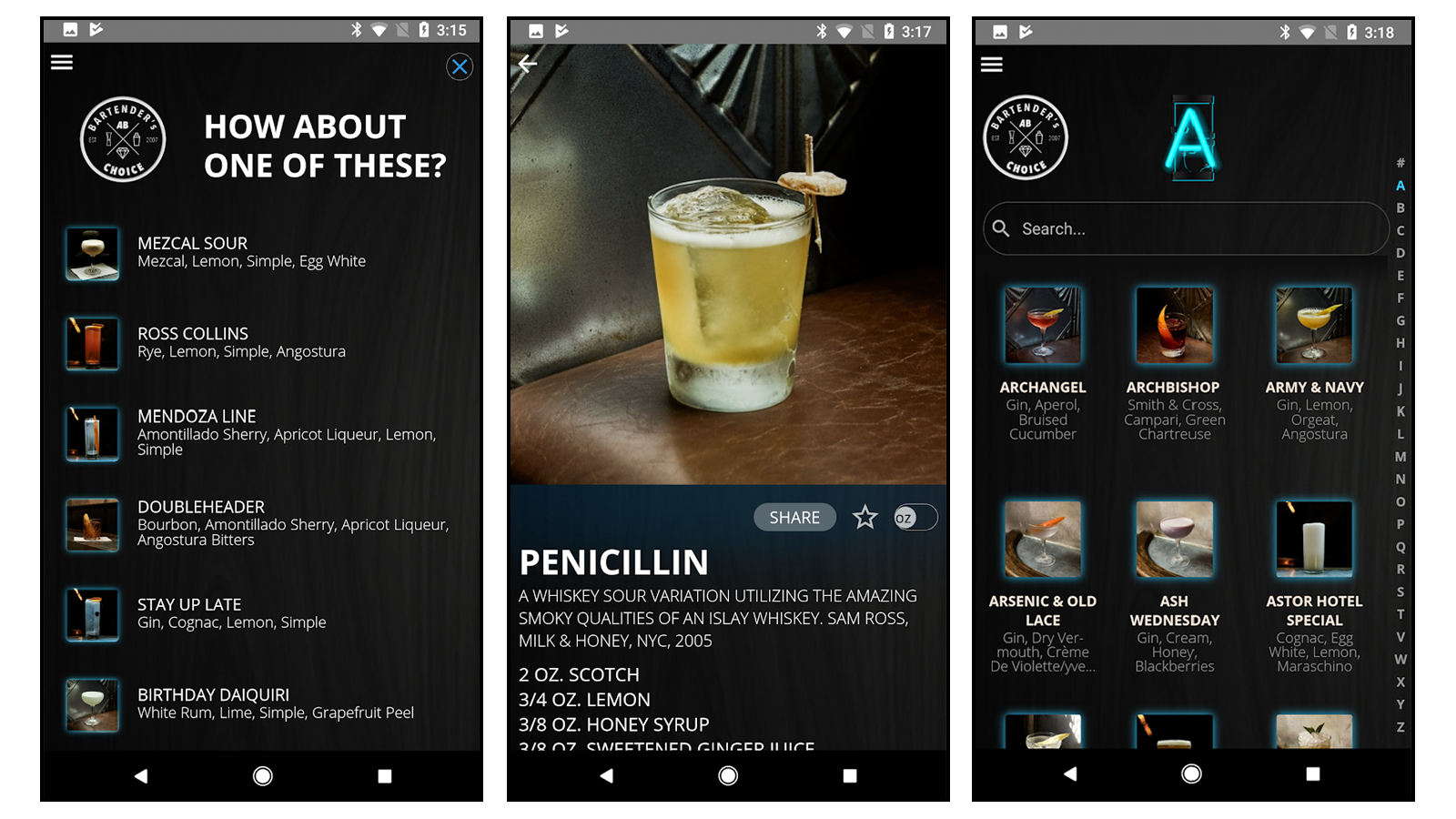 Bartender's Choice app with drink suggestions and recipes