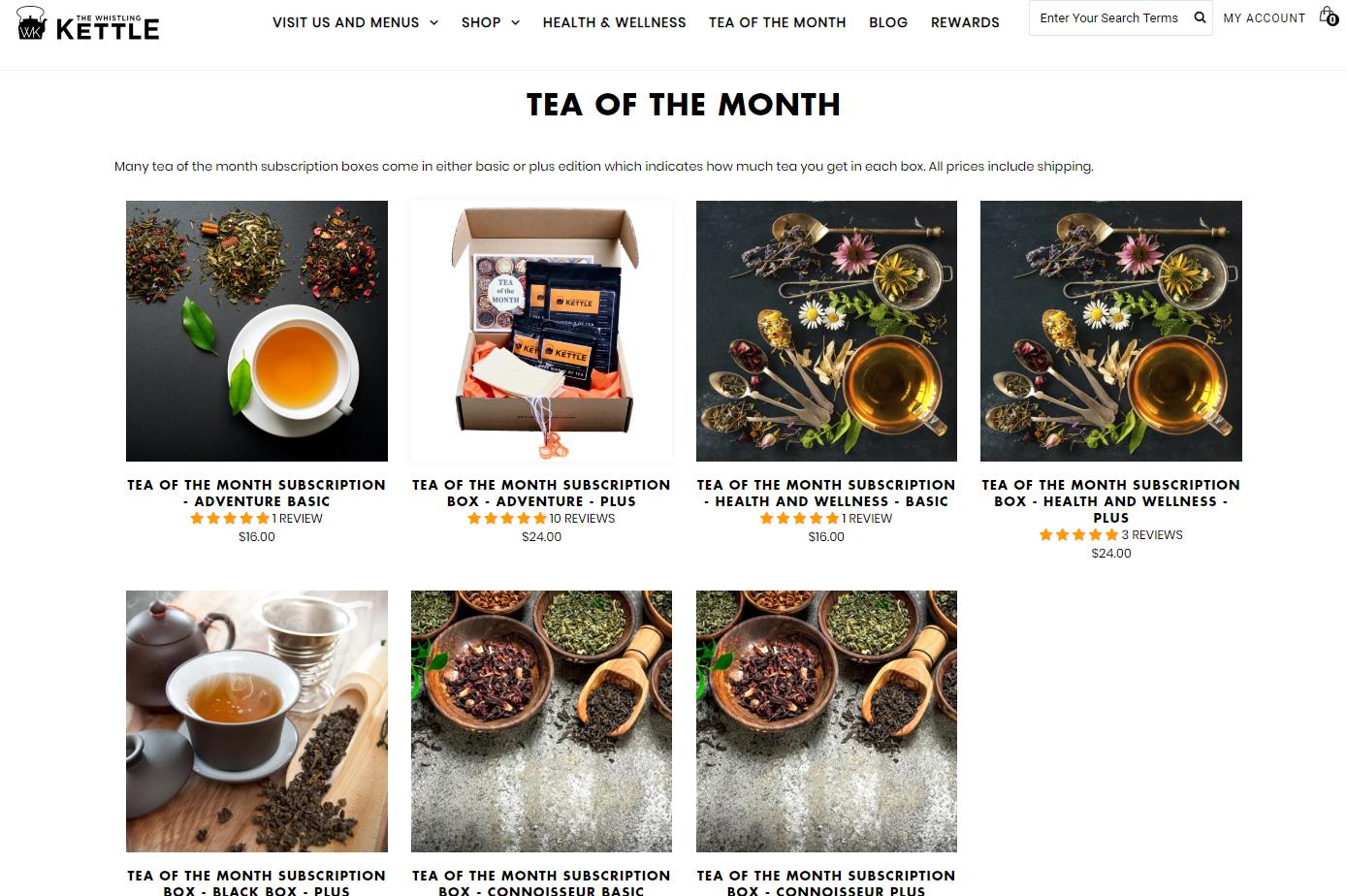 The Whistling Kettle black tea green tea herbal tea adventure tea health and wellness tea