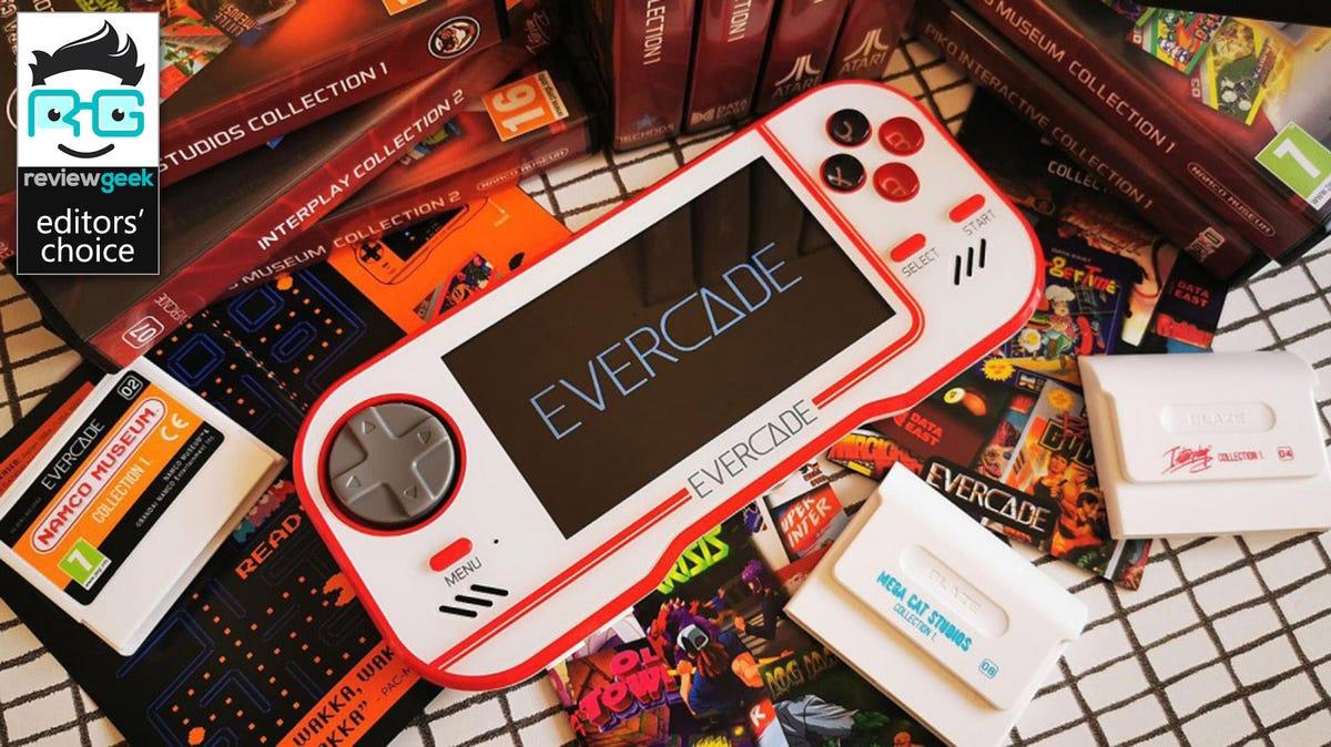 evercade with evercade logo on screen
