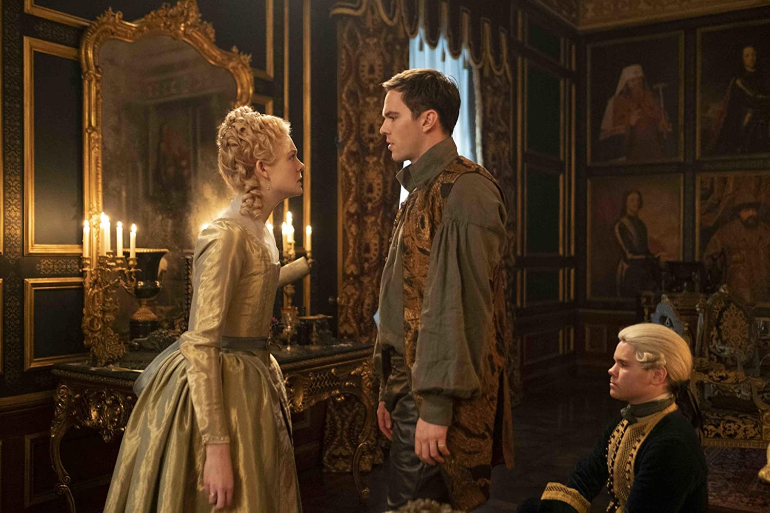 Elle Fanning and Nicholas Hoult in Hulu's The Great