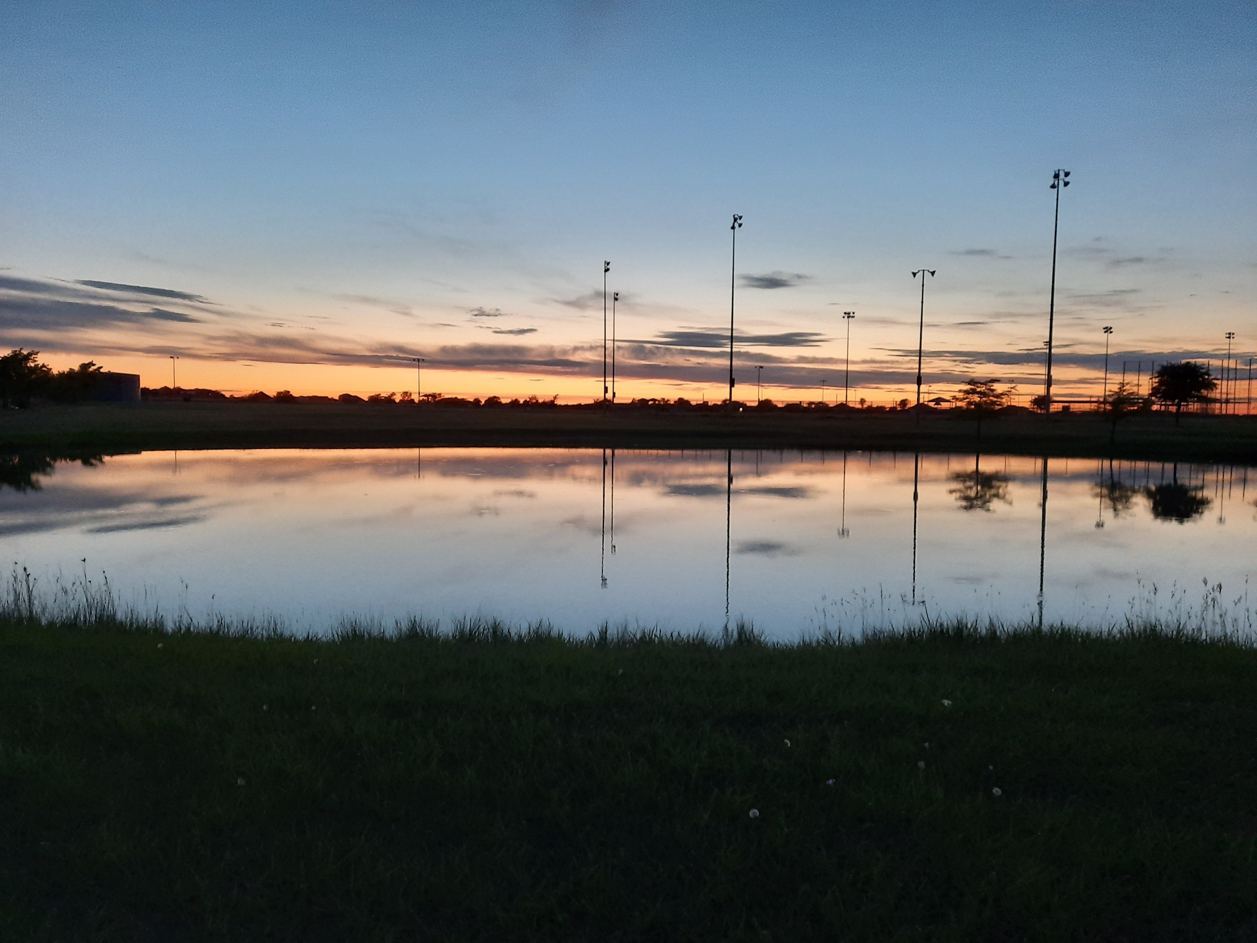 Sunset in a park