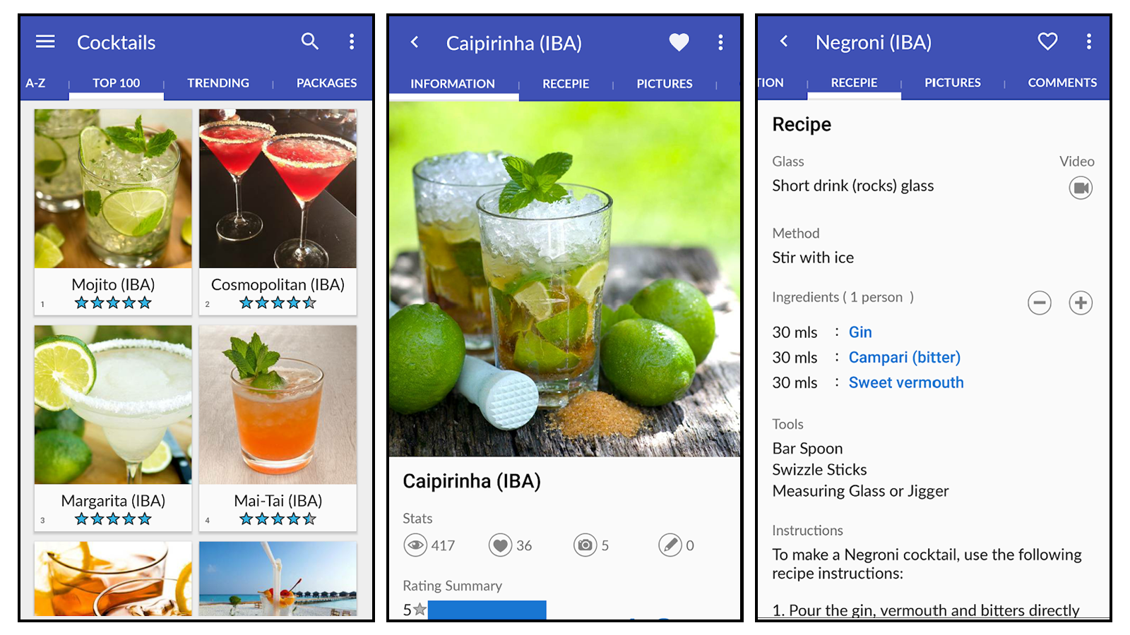 Cocktails Guru app with drink photos and recipes