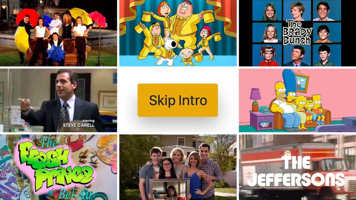 A grid of several shows, including 'Friends,' 'Family Guy,' 'The Office' and more surrounding a Skip Intro button