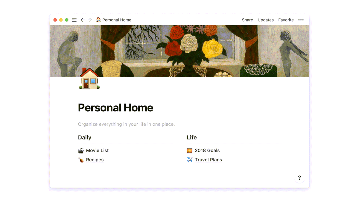 A notion homepage with lists for move watching, recipes, and more.