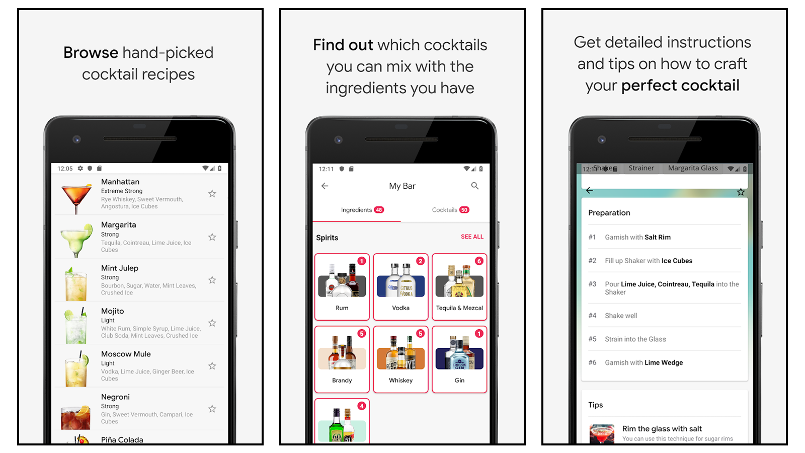 Cocktail Flow app featuring hand-picked recipes, ingredient mixers, and instructions