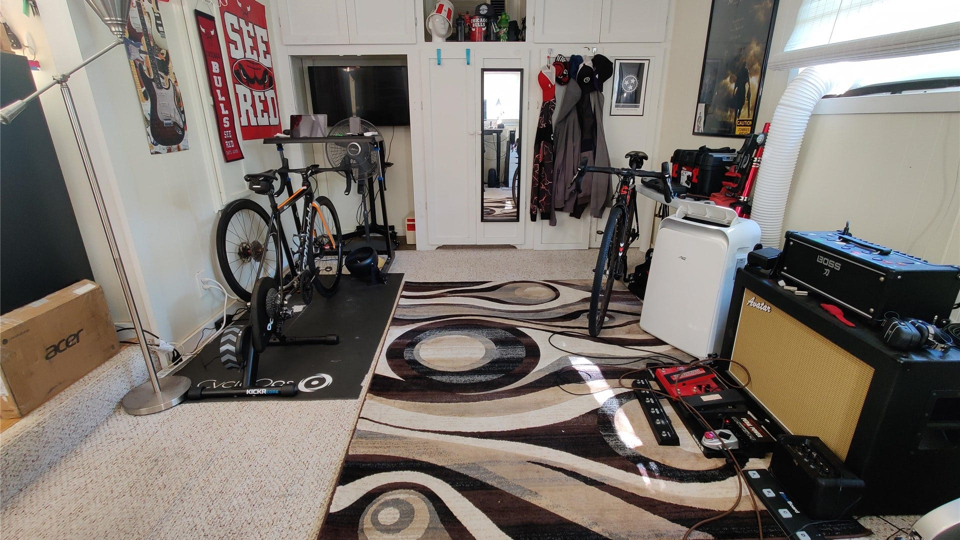 The home gym half of my home office