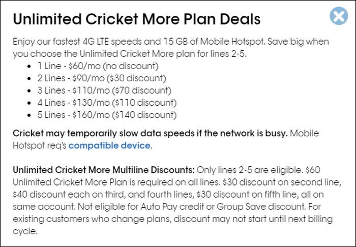Cricket Unlimited More Plan