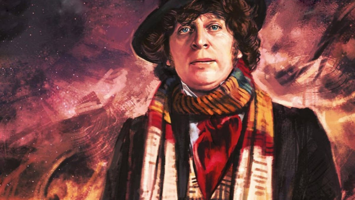A painting of Fourth Doctor from 'Doctor Who' standing in under a night sky.