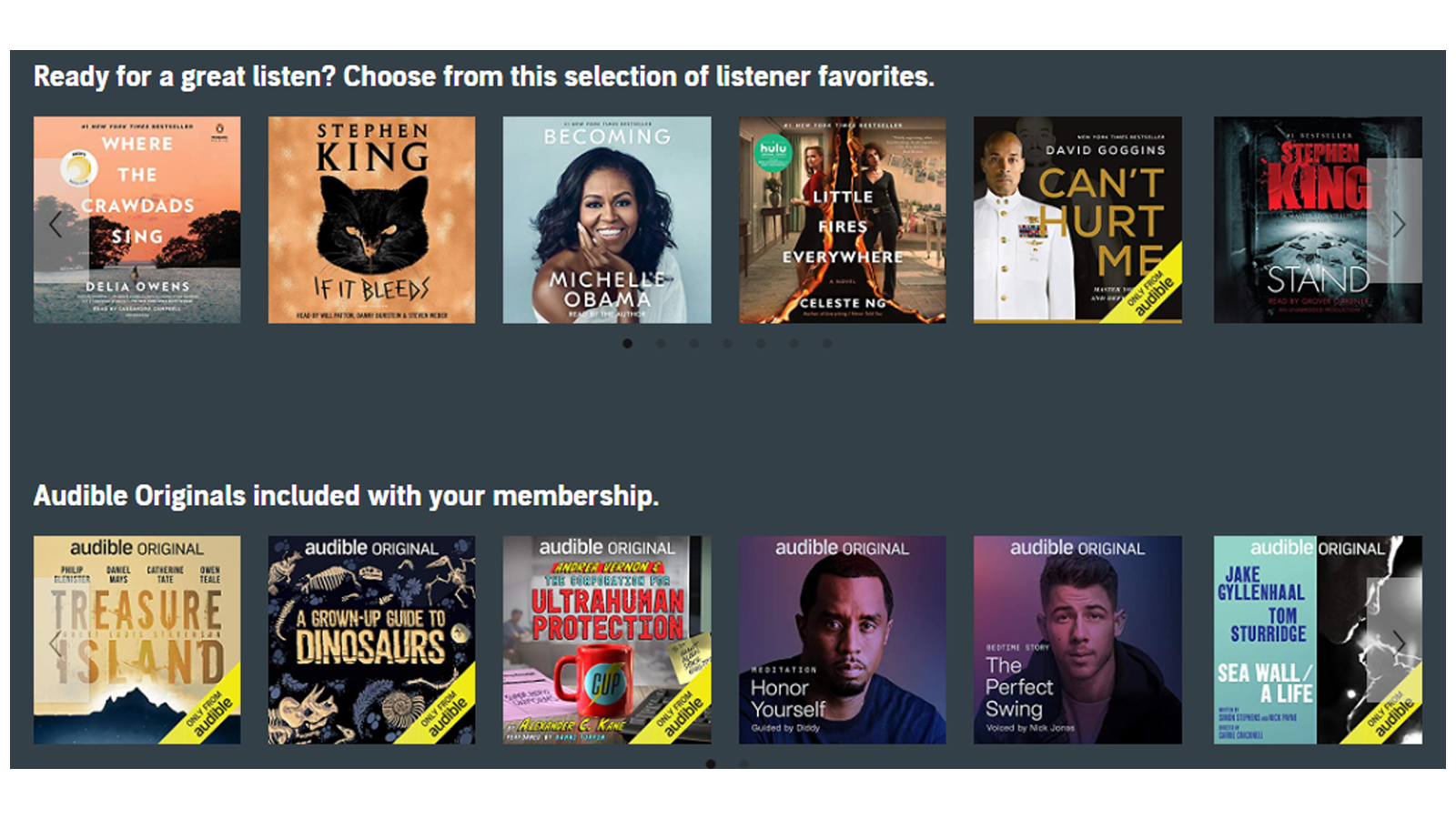 Audible Subscription homepage