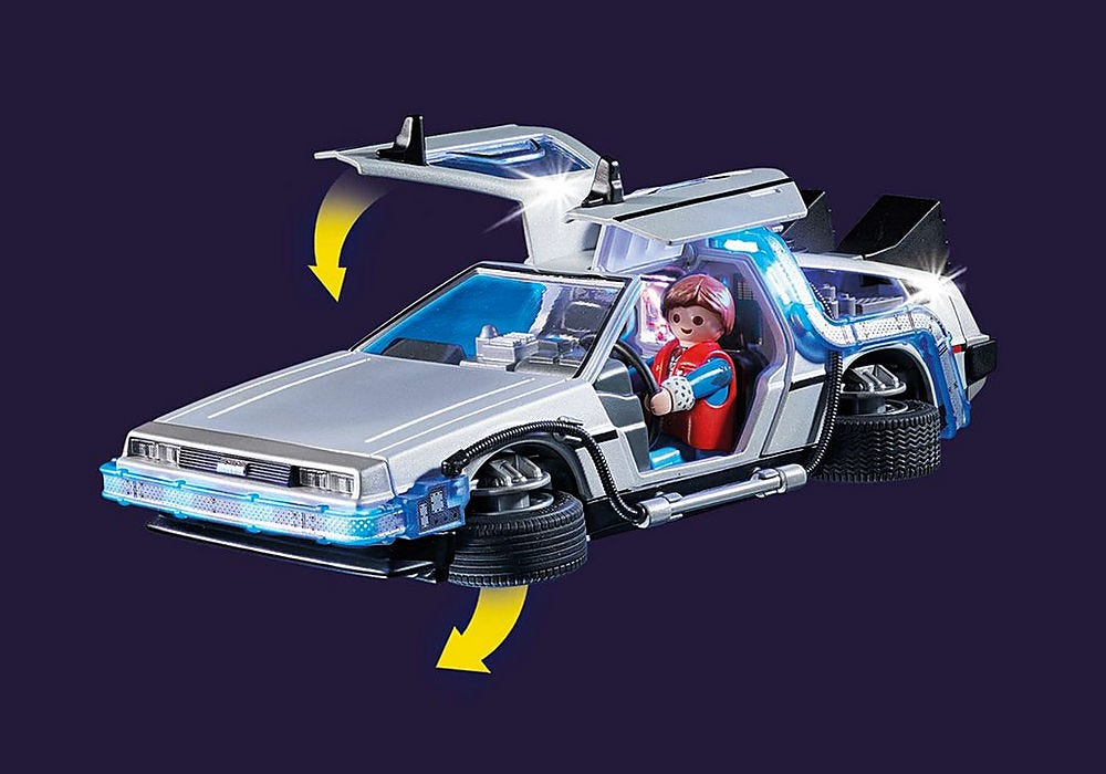 A photo of the DeLorean's wheels going into time-travel mode.