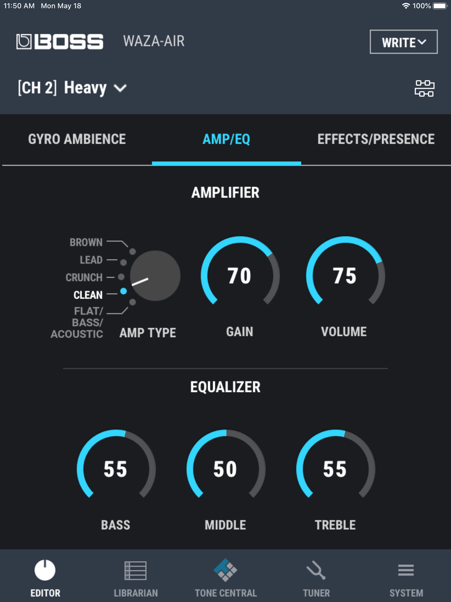 The amp/eq setting in the Waza-Air app