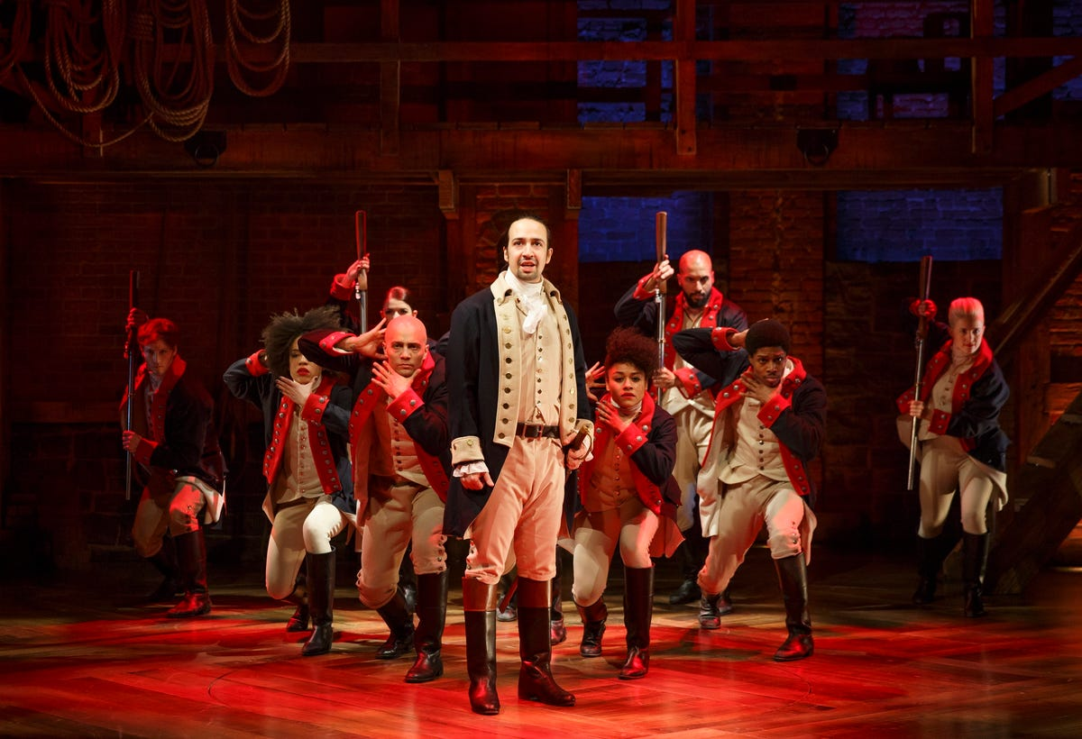 The cast of 'Hamilton' on stage.
