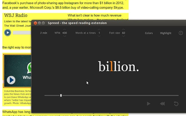 Spreed best speed reading Chrome extension for web articles