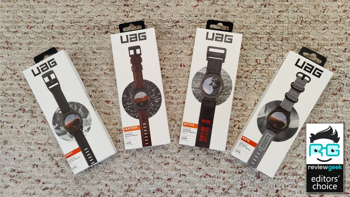 The boxes for UAG's Scout, Leather, Active, and Nato watch bands