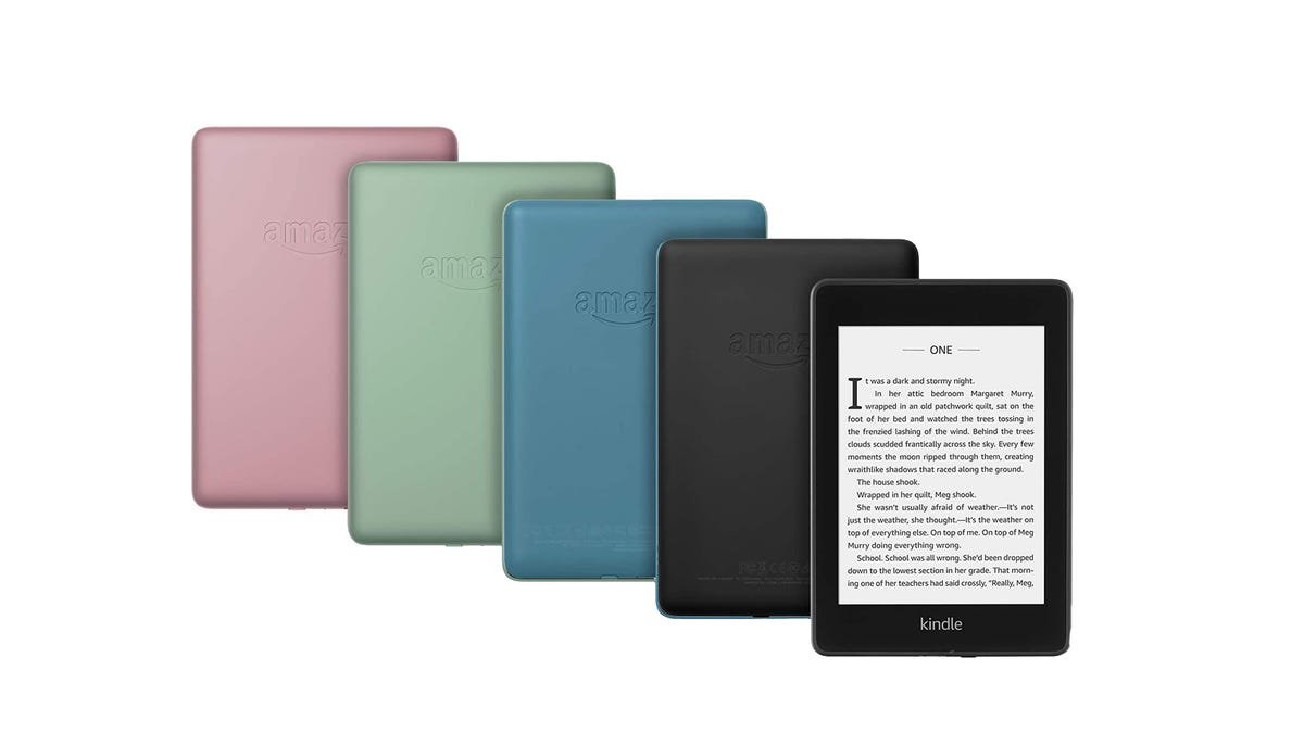 The Amazon Kindle Paperwhite in plum, sage, blue, and black.