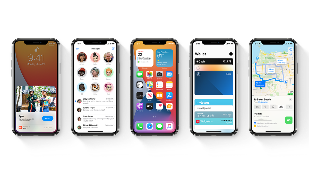 A photo of the iPhone running iOS 14.