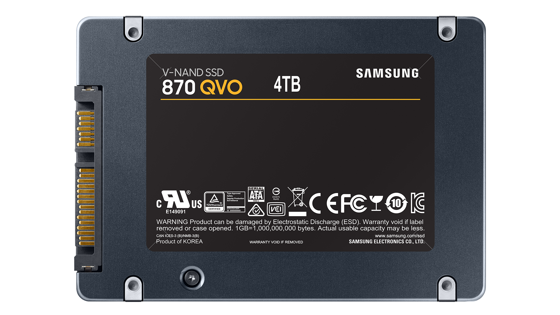 A photo of the 4TB 870 QVO SSD.