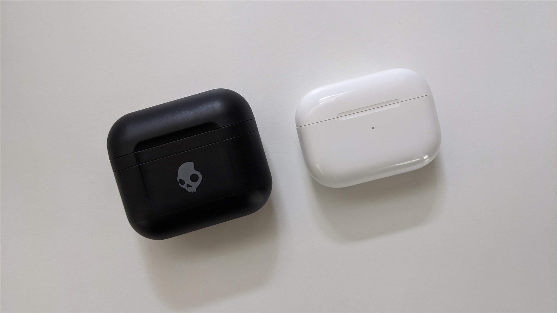 The Skullcandy Indy Fuel case next to the AirPods Pro case
