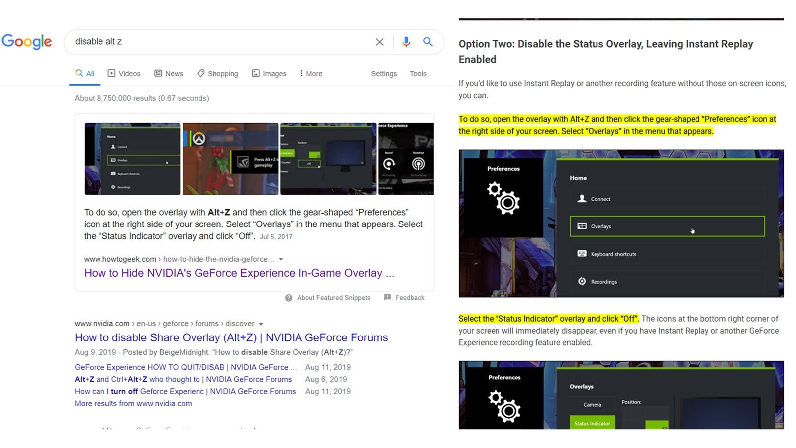 A Google search showing a snippet for a How-To Geek answer, and then the linked webpage with highlighted text.