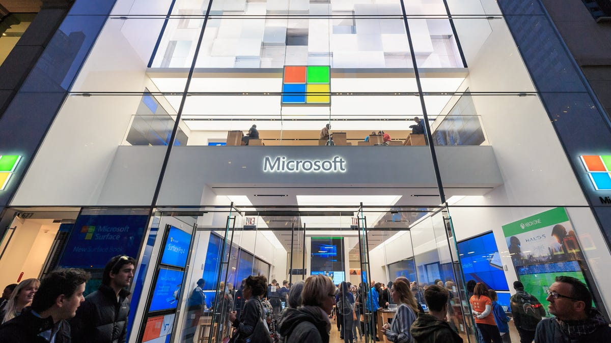 The outside of a two-story Microsoft Store