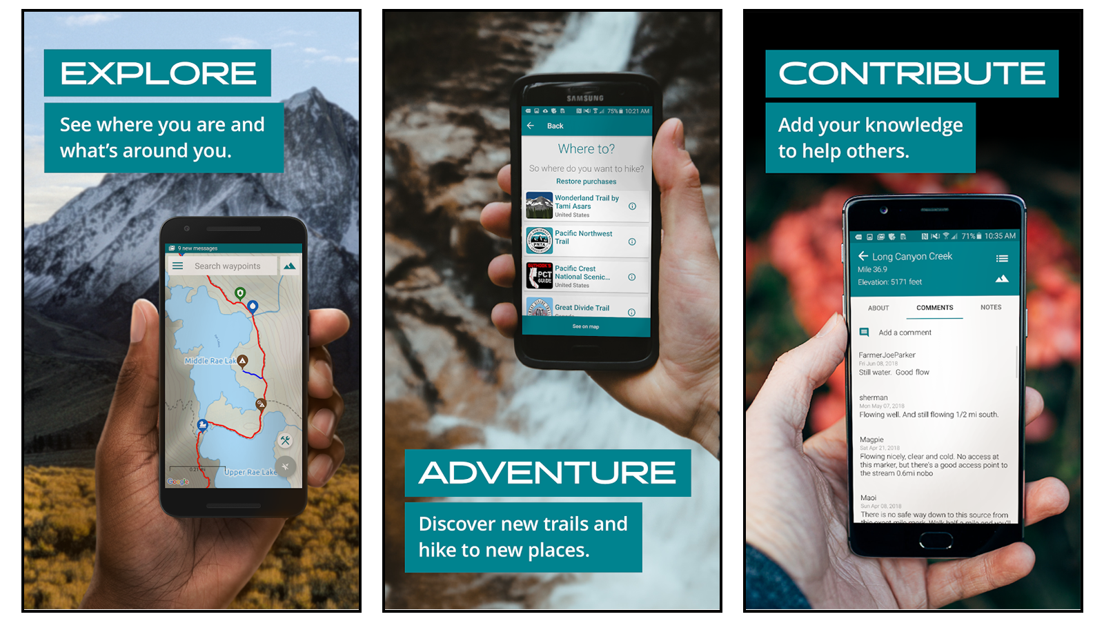 Guthook Guides best hiking app for thru-hikes and long-distance hikes create custom routes paid guides pacific northwest canada regional trails
