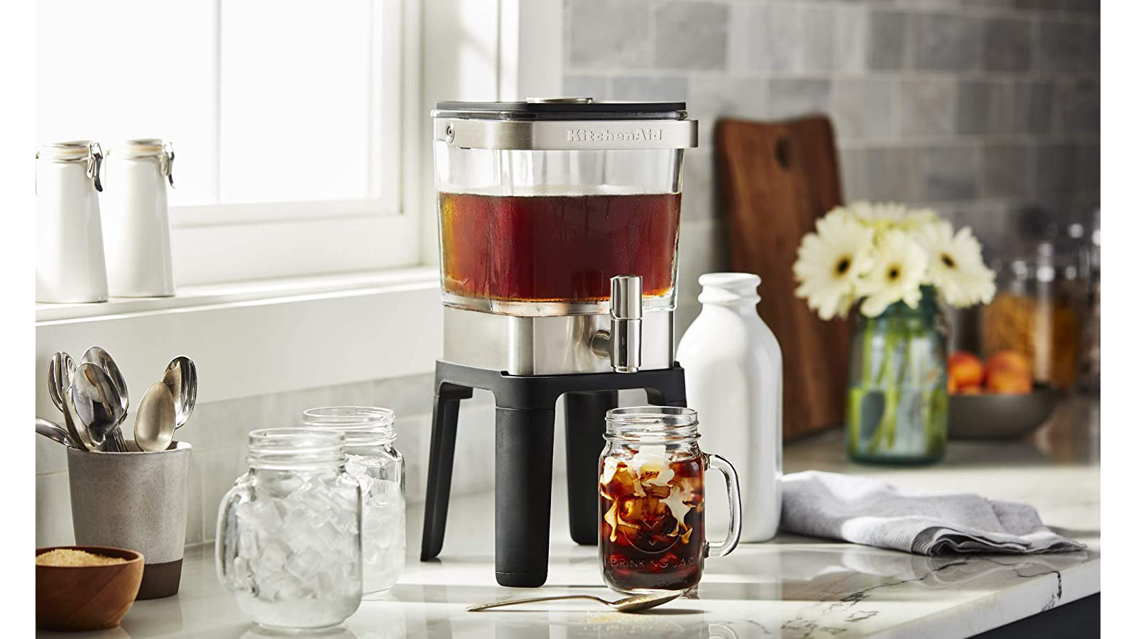 KitchenAid best cold brew coffee maker for large batches carrying handle stainless steel dispensing tap