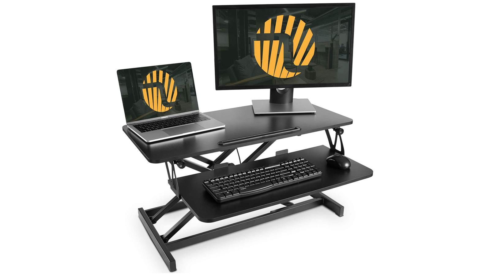 Fezibo adjustable desktop riser workstation standing desk