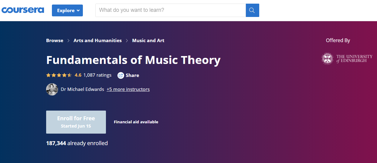 Coursera Fundamentals of Music Theory online course with certification