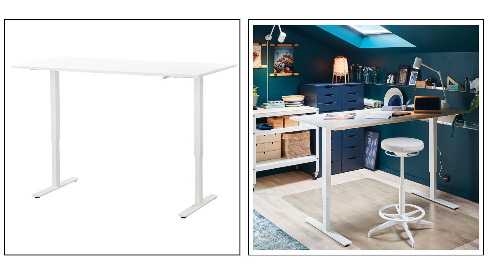 Ikea Skarsta manual crank standing desk with cable management