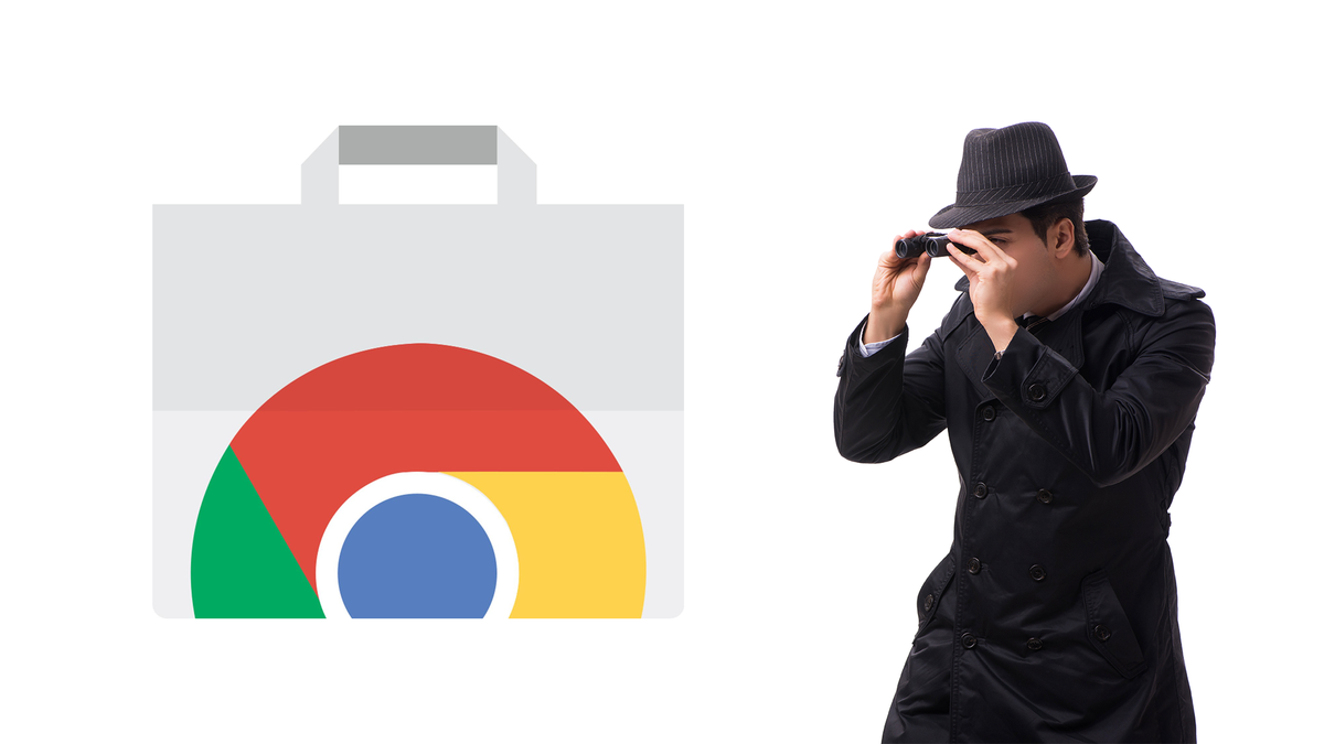 A spy using binoculars to look at your Chrome history.