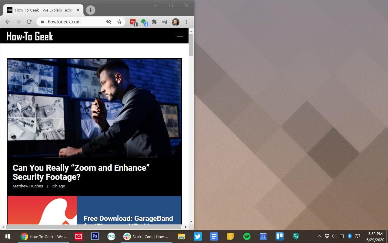 A Windows desktop with a Chrome window on the left half.