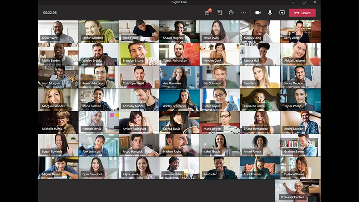 A preview of the 49-person Teams video chat.