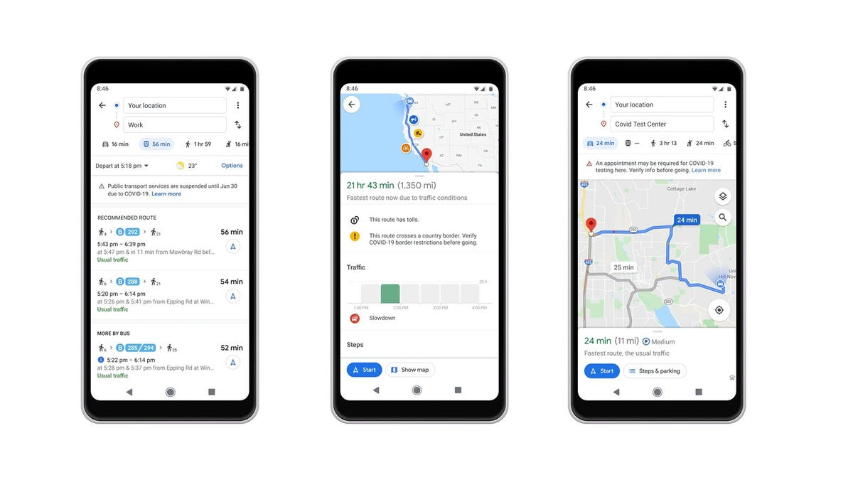 Three Android phones showing new Google Maps features.
