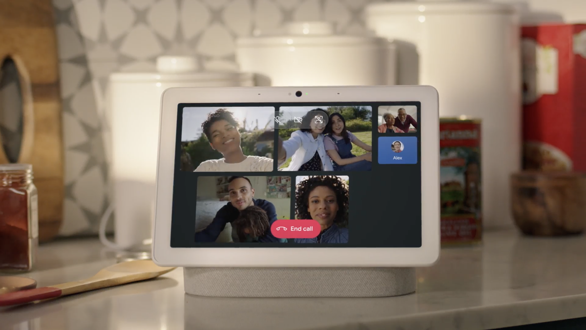 A group Google Duo call on a Nest Hub Max